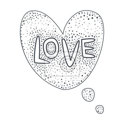 Wort liebe, hand gezeichnet comic sprechblase vorlage, isoliert ...