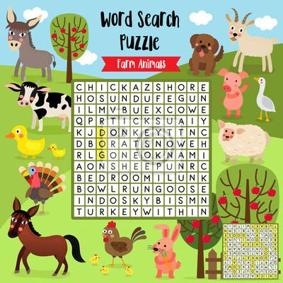 Wörter suchen puzzle-spiel von nutztieren für vorschule kinder ...