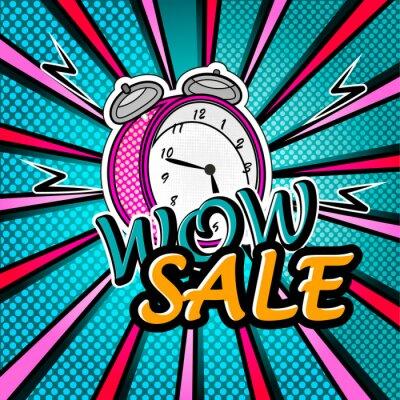 Sticker Wow Verkauf helle Pop-Art-Explosion über dotted Hintergrund