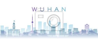 Wuhan Transparent Layers Gradient Landmarks Skyline