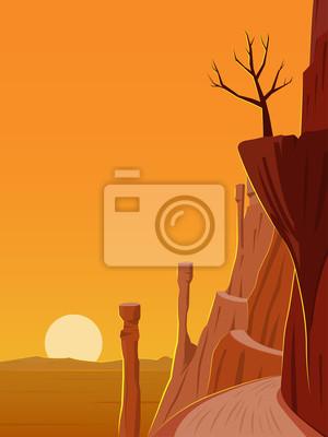 Wüstenstraße Landschaft bei Sonnenuntergang