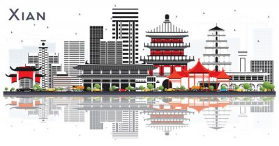 Xian China Skyline with Color Buildings and Reflections Isolated on White.