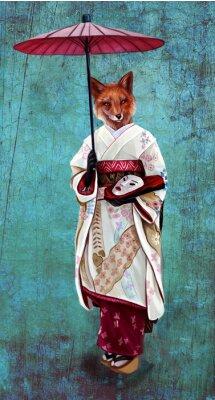 Лиса кицуне в кимоно и с восточным зонтиком