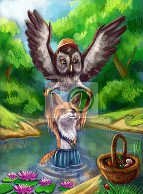 Лисенок упал в озеро  и совенок его спасает