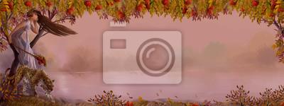 Осень иллюстрация с местом для текста. Октябрь