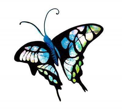 Sticker 수채화 타이 다이 기법 으로 표현한 나비