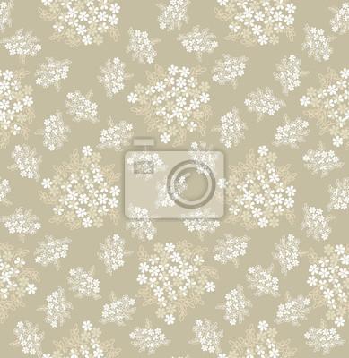 Sticker бесшовный фон из белых и бежевых цветов, drucken