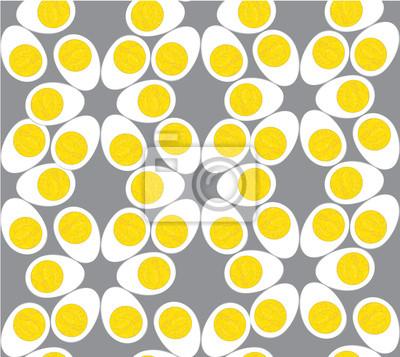 Sticker бесшовный фон из яиц на сером фоне, drucken