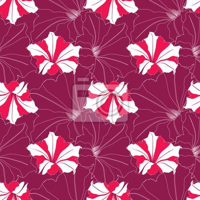 Sticker бесшовный фон из розовых цветов петунии, drucken