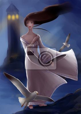 Девушка сирена на берегу моря