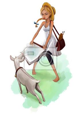 Художник и коза, цифровая графика