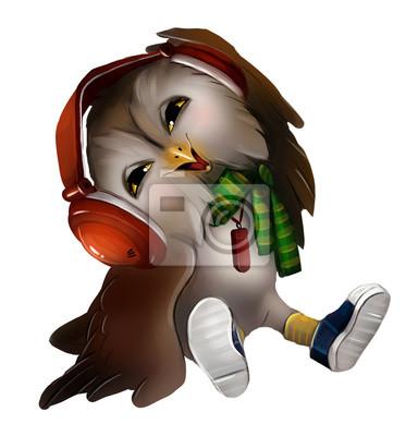 Персонаж Сова слушает музыку