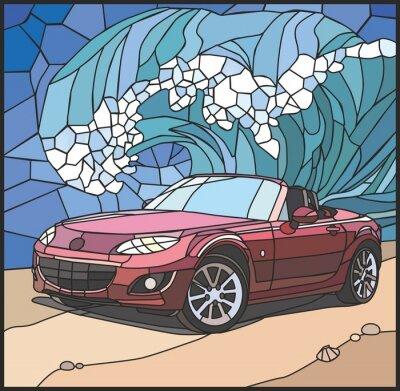 Sticker Автомобиль на берегу моря (Auto am Strand)