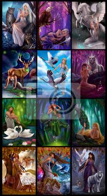 Иллюстрации для календаря 12 месяцев Коллаж из иллюстраций для календаря