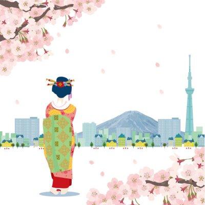 Sticker 日本 イラスト桜スカイツリ ー