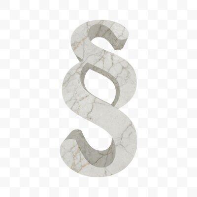 §. Marmor Absatzsymbol. Strukturiertes Abschnittzeichen des weißen Felsens lokalisiert auf transparen Hintergrund. Symbol des Gesetzbuches, Gesetz, Rechtmäßigkeit, Gerechtigkeit, Gericht. Vektor Absch