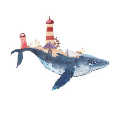 Sticker Aquarell kreatives Walplakat. Handgemalte Fantasy blauen Meerwal mit Leuchttürmen, Pflanzen, Rad, alte Boot, Steine isoliert auf weißem Hintergrund. Vintage Art nautische Kunst