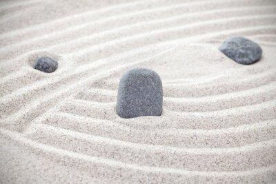 Sticker Drei Steine in Sand, Zen-Konzept