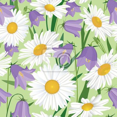 Sticker Drucken, бесшовный фон из ромашек и колокольчиков, полевые цветы