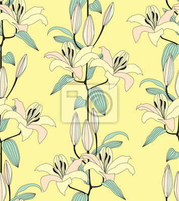 Sticker Drucken, бесшовный фон из лилий, букеты желтых цветов,