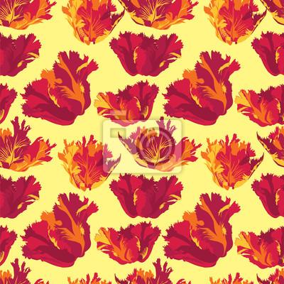 Sticker Drucken, бесшовный фон из красных цветов, тюльпан