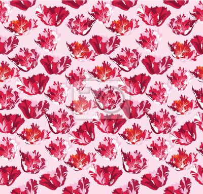 Sticker Drucken, бесшовный фон из красных цветов, тюльпаны