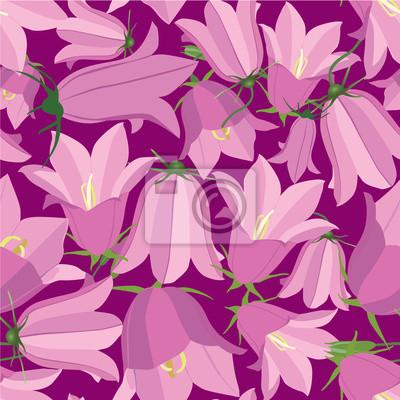 Sticker Drucken, бесшовный фон из колокольчиков, полевые цветы