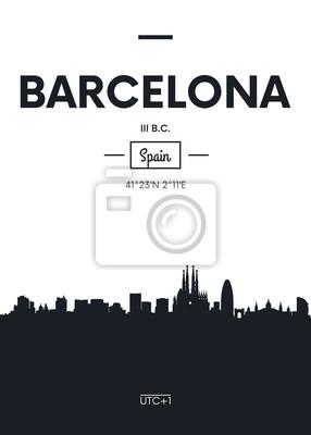 Poster Stadt Skyline Barcelona, flache Stil Vektor-Illustration