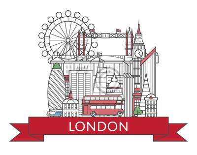 Reise-London-Plakat mit nationalen Architekturattraktionen in der modischen linearen Art. Berühmte Marksteine Londons auf weißem Hintergrund. Britische Tourismuswerbung und weltweites Reisevektorkon