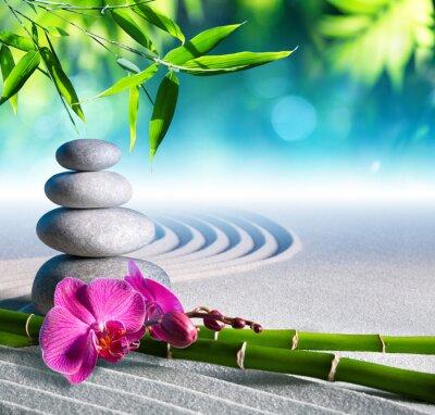 Sticker Sand, Orchidee und Massagesteine in Zen-Garten