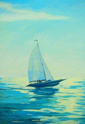 Sticker Yacht mit Segel am Morgen mediterrane Küste, Malerei