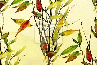 yellow and green ombre wash watercolor background texture with fall leaves