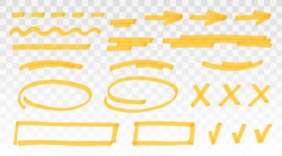 Sticker Yellow highlighter set - lines, arrows, crosses, check, oval, rectangle isolated on transparent background. Marker pen highlight underline strokes. Vector hand drawn graphic stylish element