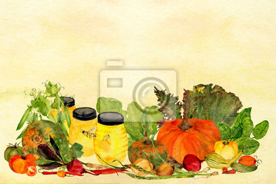 yellow ombre wash watercolor background texture and garden food