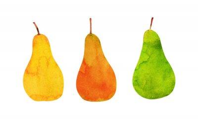 Sticker yellow, orange, green pears isolated