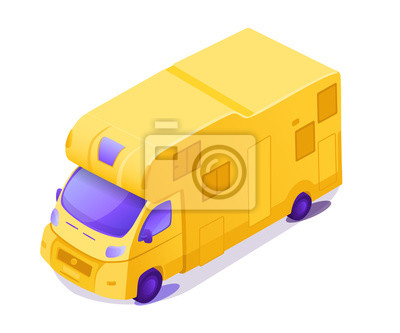 Yellow RV isometric 3D color vector illustration
