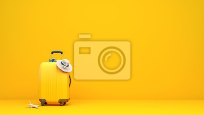 Sticker Yellow suitcase packed and ready for summer vacation 3D Rendering