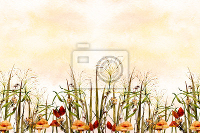 yellow watercolor ombre wash background texture with fall field images