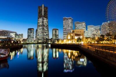Sticker Yokohama Stadtbild in der Nacht