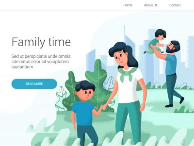 Young family with their children spend time in the park. Cartoon Vector illustration. Family day, celebration. Family time weekend.