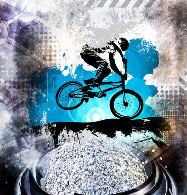 Sticker Young male bicycle jumper. Healthy lifestyle