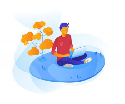 Young man outdoor with laptop vector illustration