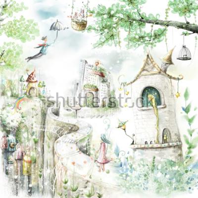 Sticker Zauberhafte Waldwege und Märchenfiguren