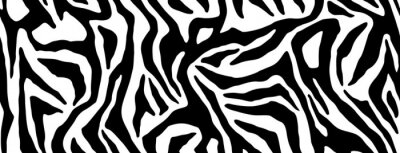 Sticker Zebra fur repeating texture. Animal skin stripes, jungle wallpapers. Black and white seamless pattern. Vector