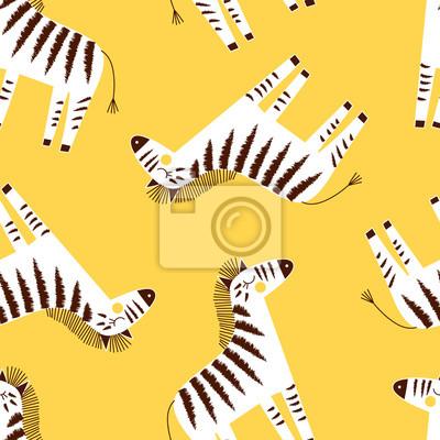 zebra seamless pattern on yellow background, summer kids and nursery fabric textile print
