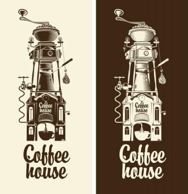 Sticker Zeichen Retro Kaffee Haus und Schleifer mit Dach