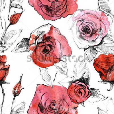 Sticker Zeichnen Sie an, gezeichnetes nahtloses Muster der realistischen Rotrosenblume des Aquarells Hand. Botanische Kunstmalereiabbildung. Weinlesedesign für Skizzenbuch, Reisebuch, Grußkarte, Postkarte, Ei