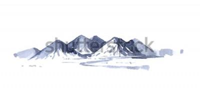 Sticker Zeichnen von Bergen Aquarell