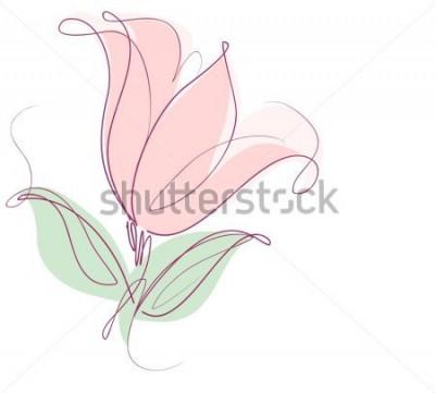 Sticker Zeichnen von Vektorgrafiken mit Blumenmustern mit Tulpen für Design. Natürliches Design der Blumenblume. Grafik, Skizzenzeichnung. Tulpe.