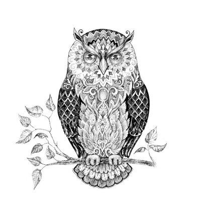 Sticker Zeichnung Eule mit schönen Mustern
